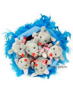 Букеты из мягких игрушек, Букет из игрушек «Мышиный рай»