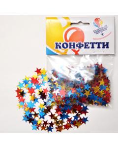 Товары для праздника, Конфетти звезды, золото, красный и синий