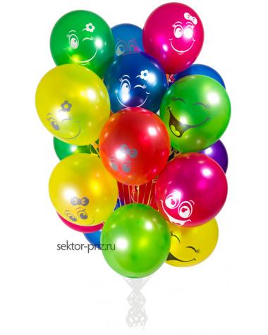 «Разноцветные смайлы» - шары с гелием