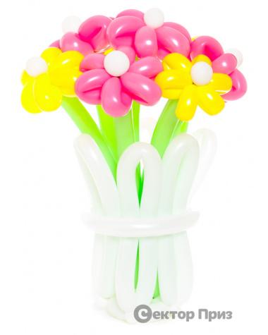 Корзина из шаров с цветами «Лепесток»