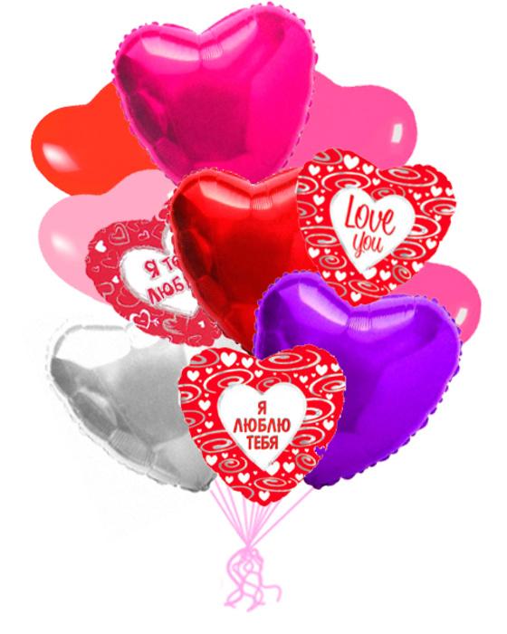 Сердца «Ассорти» — шары с гелием. 22 шт.