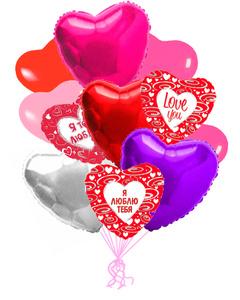 Сердца «Ассорти» - шары с гелием