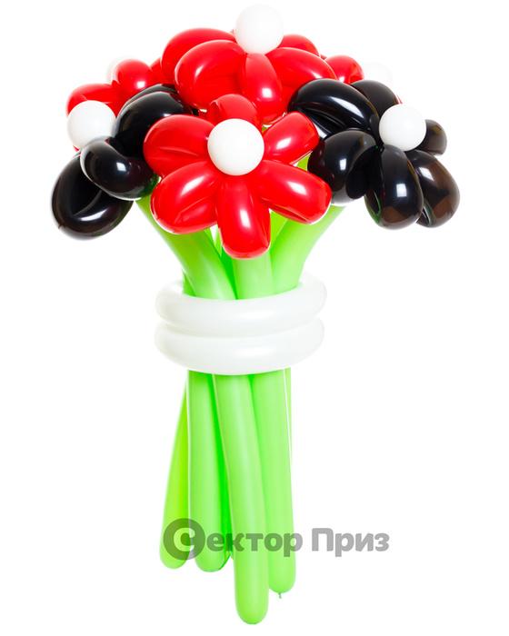 «Поцелуй черной бабочки» — 7 цветов из шаров