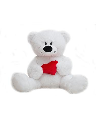 Медведь белый с сердцем средний, 130см