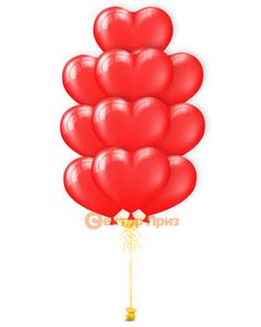 """""""Воздушные сердца"""" - фонтан из 10 шаров"""