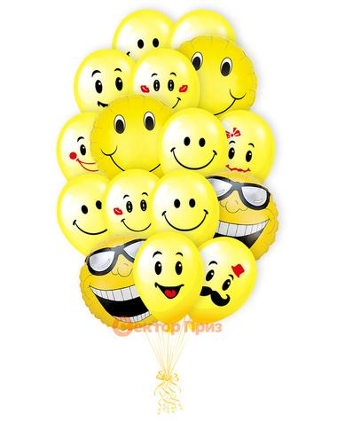 «Веселые смайлы» — шары с гелием. 22 шт.