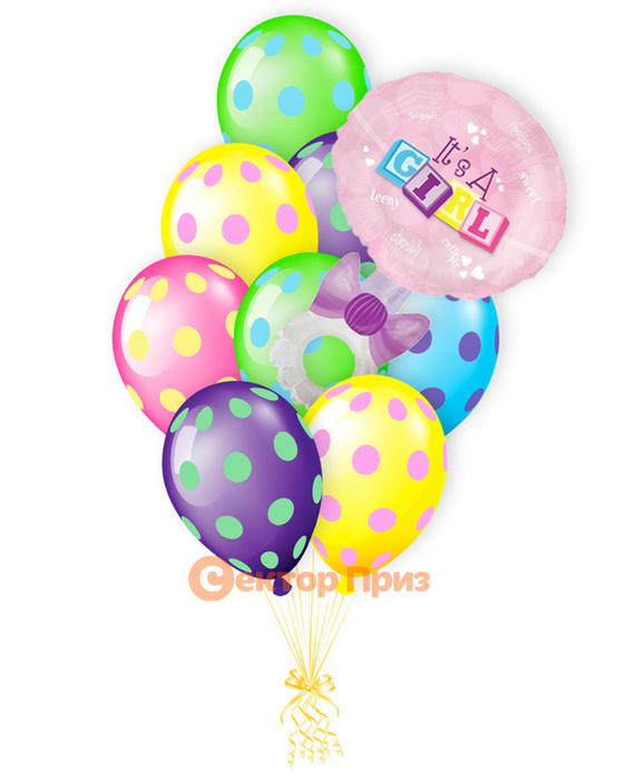 «Погремушка на рождение девочки» — шары с гелием. 14 шт.
