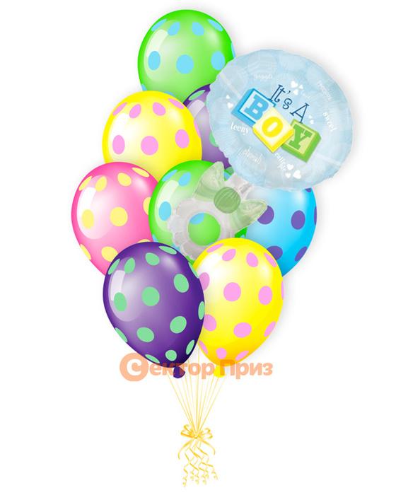 «Погремушка на рождение мальчика» — шары с гелием. 14 шт.