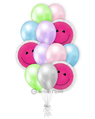 «Розовые смайлики» — шары с гелием