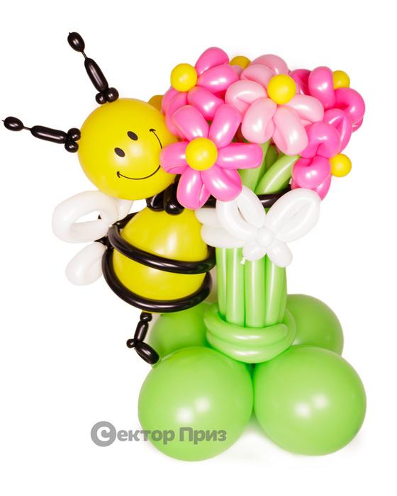 «Барби с пчелкой» — 11 цветов из шаров