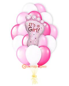 «Ступня на рождение девочки» — шары с гелием. 27 шт.