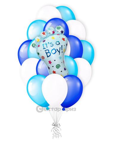 «Ступня на рождение мальчика» — шары с гелием. 27 шт.