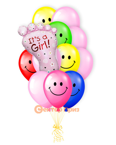 «У нас дочка!» — шары с гелием. 17 шт.