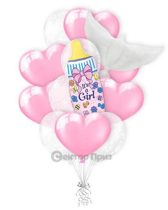 «Ура! Дочка!» — шары с гелием. 18 шт.
