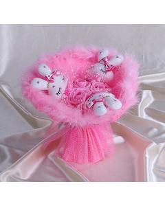 Букет из игрушек «Розовые мишки»