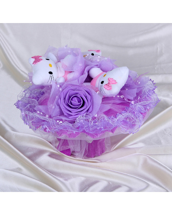 Букет из игрушек «Знак внимания» фиолетовый