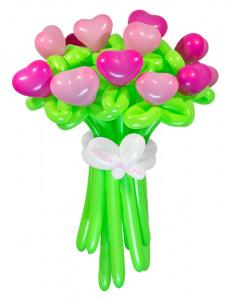 Букеты из воздушных шаров, «Влюбленное сердце» — 15 цветов из шаров