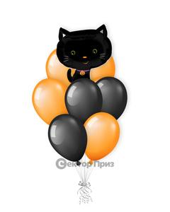 «Хэллоуинский кот» — шары с гелием. 12 шт.