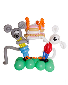 Фигура из шаров «Клоун с букетом»