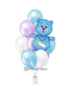 «Медвежонок на рождение мальчика» — шары с гелием. 12 шт.