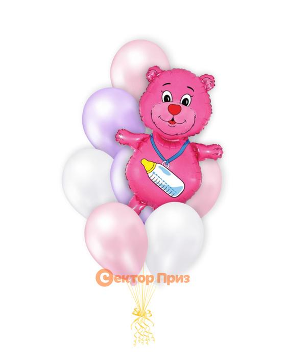 «Медвежонок на рождение девочки» — шары с гелием. 12 шт.