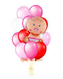«Ребёнок на рождение девочки» — шары с гелием. 15 шт.