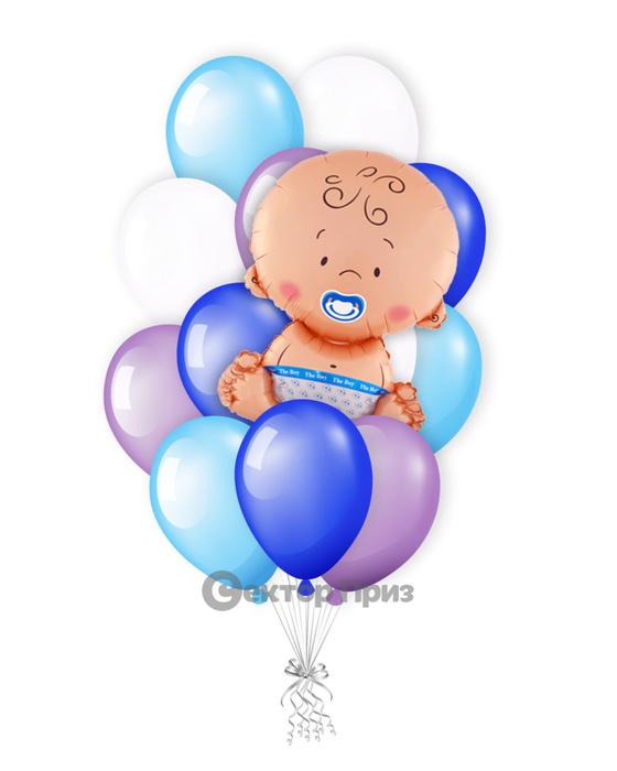 «Ребёнок на рождение мальчика» — шары с гелием. 15 шт.