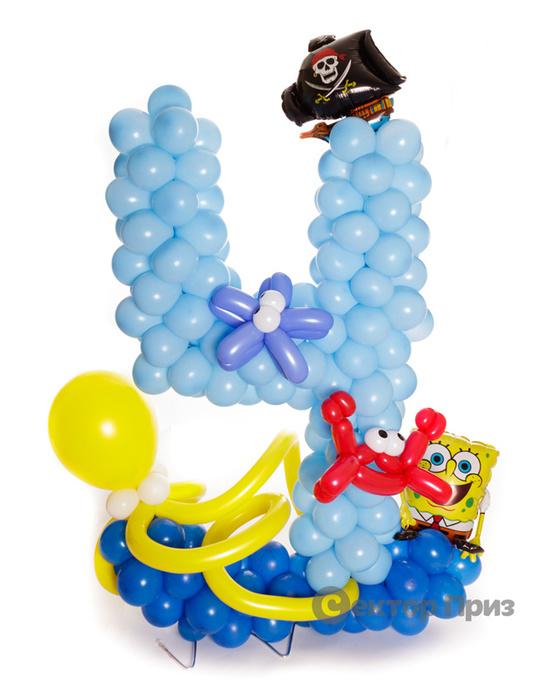 Фигура из шаров «Цифра четыре Спанч Боб»