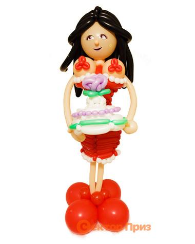 Фигура из шаров «Девушка с тортом»