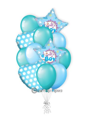 «Долгожданный мальчик» — шары с гелием. 18 шт.