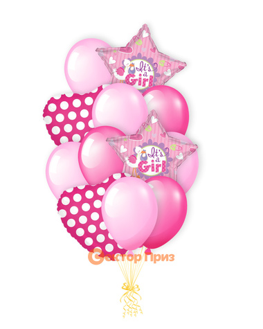 «Долгожданная девочка» — шары с гелием. 18 шт.