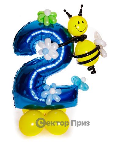 Фигура из шаров «Цифра два фольгированная с пчелкой»