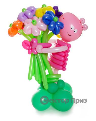 Свинка Пеппа с букетом — 9 цветов из шаров