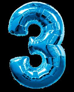 Цифра три синяя