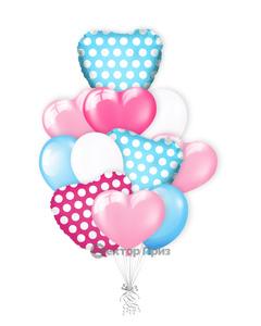 «Сердечки в горошек» — шары с гелием. 15 шт.
