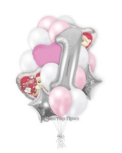 «На годовасие девочки» — шары с гелием. 21 шт.