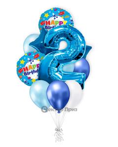 «На два года мальчику» — шары с гелием. 18 шт.