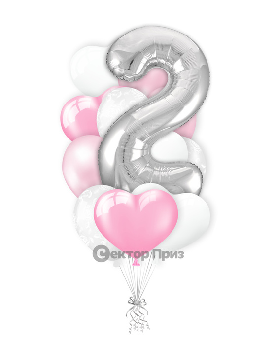 «Букет на два года девочке» — шары с гелием. 15 шт.