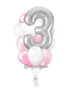 «На три годика девочке» — шары с гелием. 15 шт.
