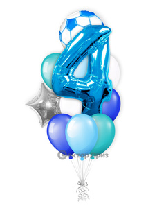 «Шары на четыре года мальчику» — шары с гелием. 16 шт.