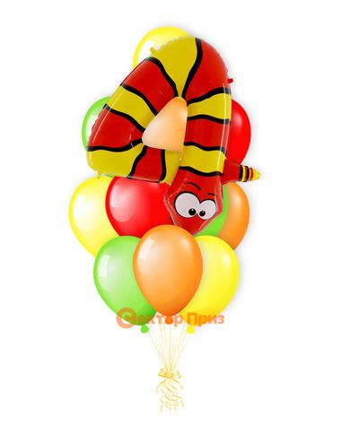 «Змейка на четыре года» — шары с гелием. 16 шт.