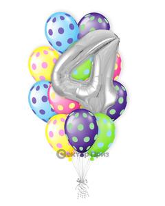«Букет на четыре года» — шары с гелием. 18 шт.