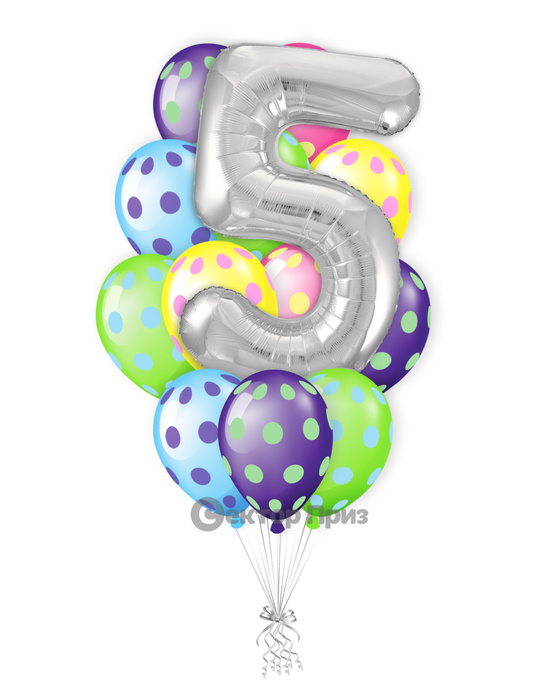 «Букет на пять лет» — шары с гелием. 18 шт.