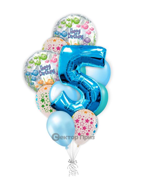 «На пять лет мальчику» — шары с гелием. 15 шт.