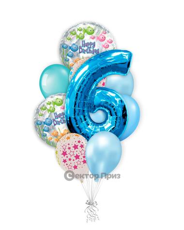 «На шесть лет мальчику» — шары с гелием. 15 шт.