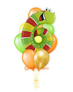 «Гусеница на шесть лет» — шары с гелием. 16 шт.