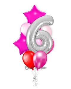«Девочке на шесть лет» — шары с гелием. 15 шт.