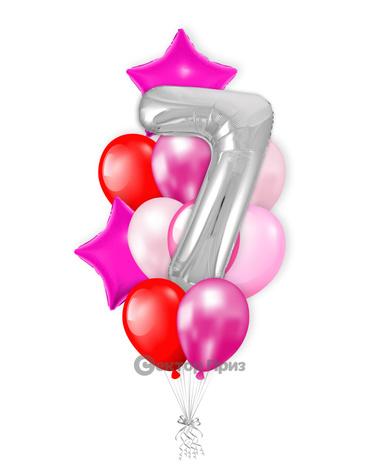 «На семь лет девочке» — шары с гелием. 15 шт.
