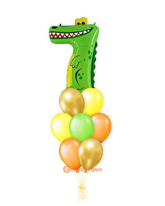 «Крокодил на семь лет» — шары с гелием. 12 шт.