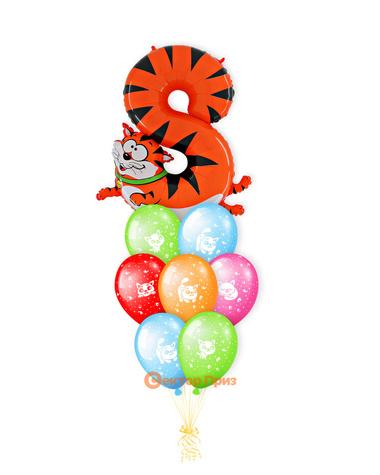 «Кот на восемь лет» — шары с гелием. 12 шт.